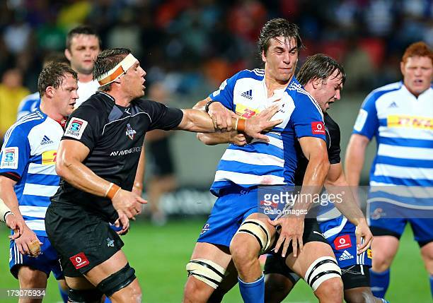 Darron Nell of the Southern Kings and Eben Etzebeth of the DHL Stormers clash during the Super Rugby match between Southern Kings and DHL Stormers at...