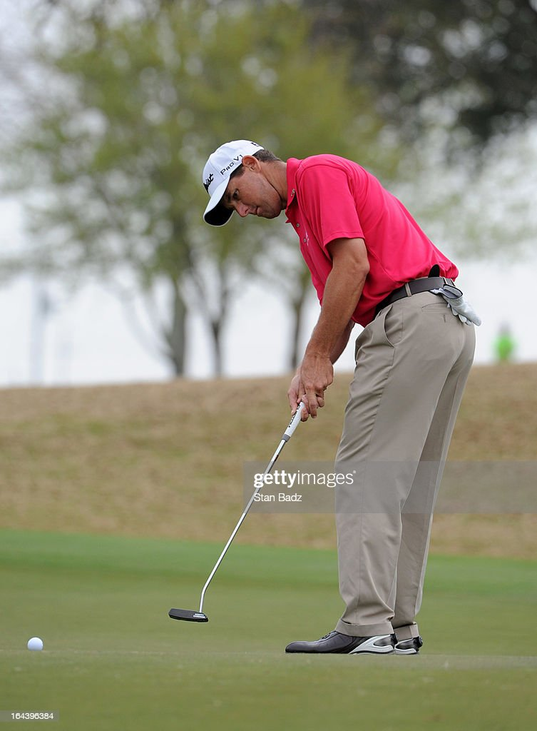 Darron Stiles hits a putt on the sixth hole during the third round of the Chitimacha Louisiana Open at Le Triomphe Country Club on March 23, 2013 in Broussard, Louisiana.