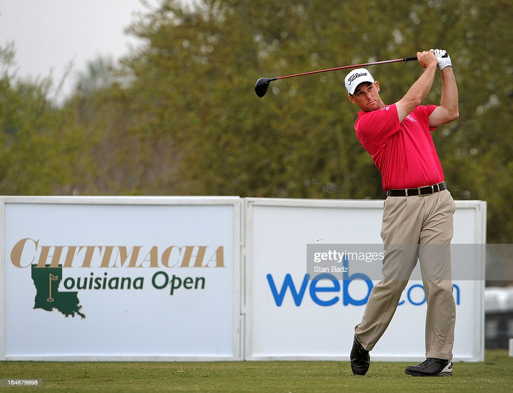 Darron Stiles hits from the tenth hole during the third round of the Chitimacha Louisiana Open at Le Triomphe Country Club on March 23, 2013 in Broussard, Louisiana.