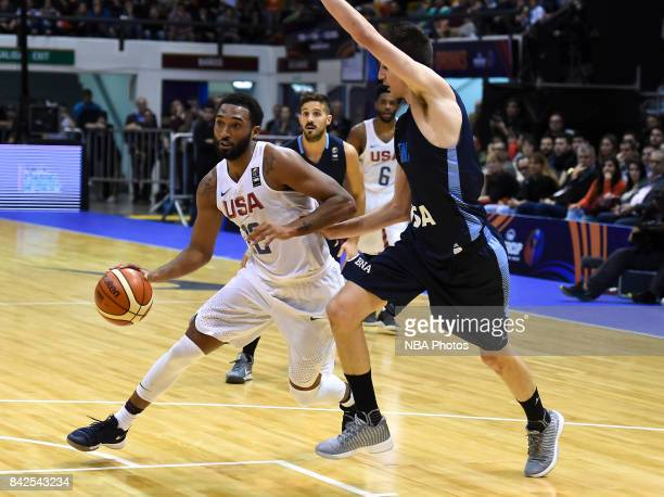 Darrun Hilliard II of United States fights for ball with Nicolas Brussino of Argentina during the FIBA Americup final match between US and Argentina...