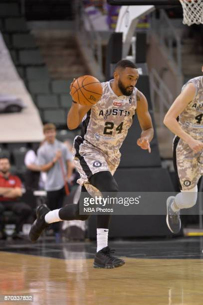 Darrun Hilliard of the Austin Spurs handles the ball against the Texas Legends during an NBA GLeague game on November 4 2017 at the HEB Center in...