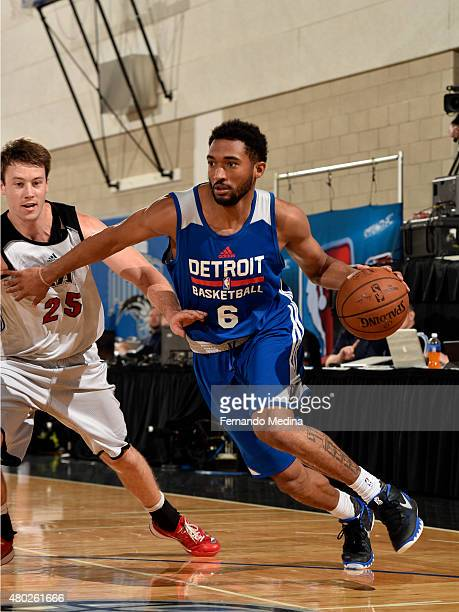 Darrun Hilliard of the Detroit Pistons drives to the basket against the Miami Heat on July 10 2015 at Amway Center in Orlando Florida NOTE TO USER...