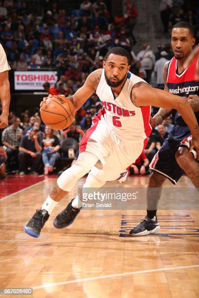 Darrun Hilliard of the Detroit Pistons dtb against the Washington Wizards on April 10 2017 at The Palace of Auburn Hills in Auburn Hills Michigan...