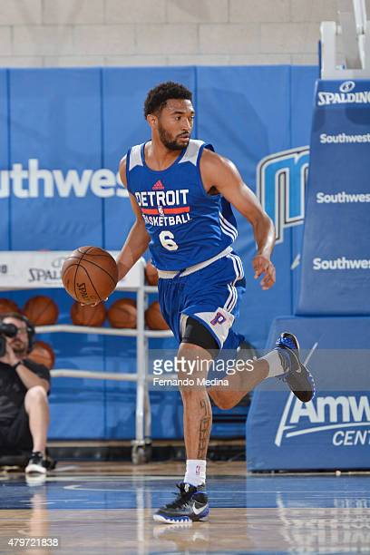 Darrun Hilliard of the Detroit Pistons handles the ball against the Miami Heat during the 2015 Orlando Pro Summer League game on July 6 2015 at Amway...