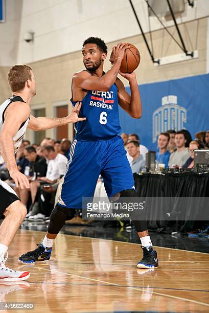 Darrun Hilliard of the Detroit Pistons handles the ball against the Orlando Magic on July 4 2015 at Amway Center in Orlando Florida NOTE TO USER User...