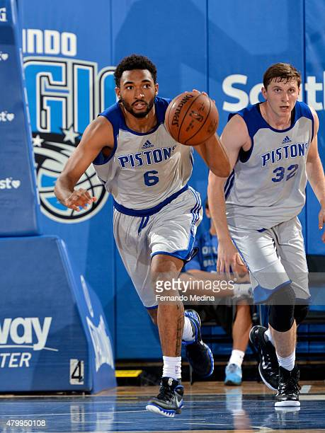 Darrun Hilliard of the Detroit Pistons handles the ball against the Indiana Pacers on July 8 2015 at Amway Center in Orlando Florida NOTE TO USER...