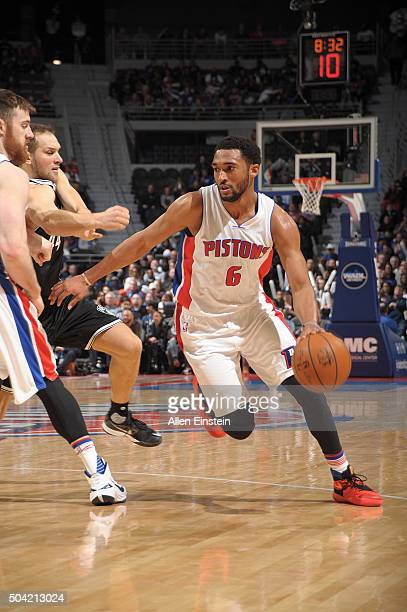 Darrun Hilliard of the Detroit Pistons handles the ball against the Brooklyn Nets on January 9 2016 at The Palace of Auburn Hills in Auburn Hills...