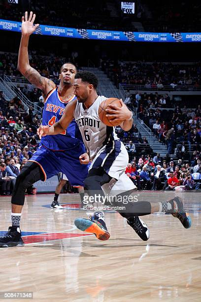 Darrun Hilliard of the Detroit Pistons handles the ball against the New York Knicks on February 4 2016 at The Palace of Auburn Hills in Auburn Hills...