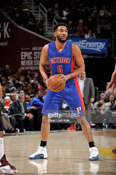 Darrun Hilliard of the Detroit Pistons handles the ball against the Cleveland Cavaliers on April 13 2016 at Quicken Loans Arena in Cleveland Ohio...