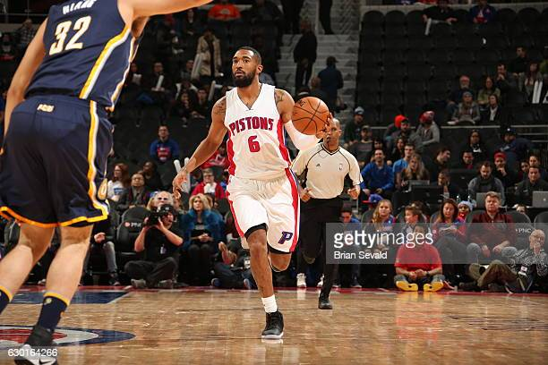 Darrun Hilliard of the Detroit Pistons handles the ball against the Indiana Pacers on December 17 2016 at The Palace of Auburn Hills in Auburn Hills...