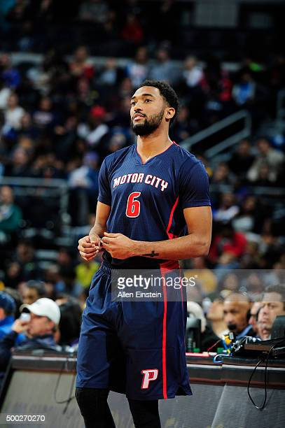 Darrun Hilliard of the Detroit Pistons looks on during the game against the Los Angeles Lakers on December 6 2015 at The Palace of Auburn Hills in...