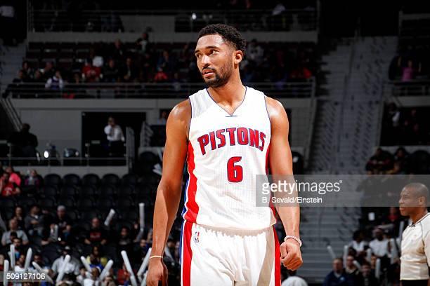 Darrun Hilliard of the Detroit Pistons looks on during the game against the Toronto Raptors on February 8 2016 at The Palace of Auburn Hills in...