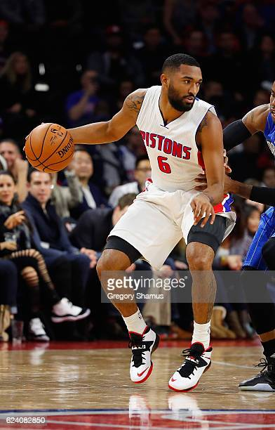 Darrun Hilliard of the Detroit Pistons plays against the Orlando Magic at the Palace of Auburn Hills on October 28 2016 in Auburn Hills Michigan NOTE...