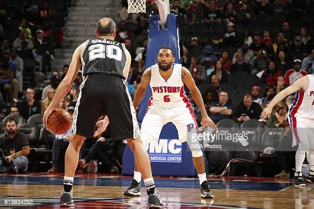 Darrun Hilliard of the Detroit Pistons plays defense against San Antonio Spurs on October 10 2016 at The Palace of Auburn Hills in Auburn Hills...