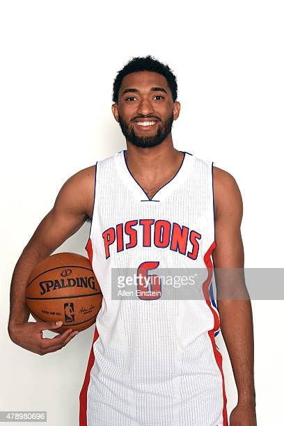 Darrun Hilliard of the Detroit Pistons poses for a portrait at a press conference on June 27 2015 at the Palace of Auburn Hills in Auburn Hills...