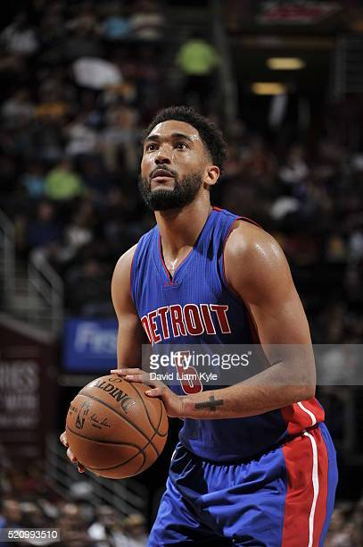 Darrun Hilliard of the Detroit Pistons prepares to shoot a free throw against the Cleveland Cavaliers on April 13 2016 at Quicken Loans Arena in...