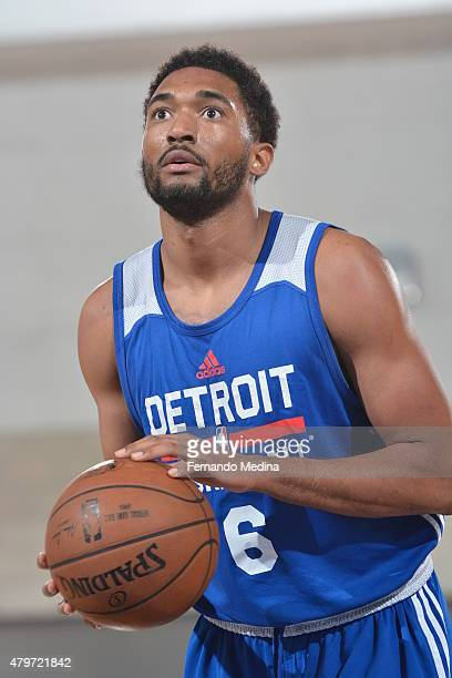 Darrun Hilliard of the Detroit Pistons shoots a free throw against the Miami Heat during the 2015 Orlando Pro Summer League game on July 6 2015 at...