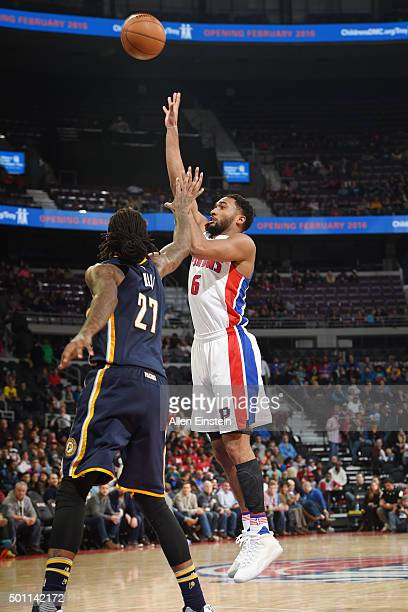 Darrun Hilliard of the Detroit Pistons shoots against Jordan Hill of the Indiana Pacers during the game on December 12 2015 at The Palace of Auburn...
