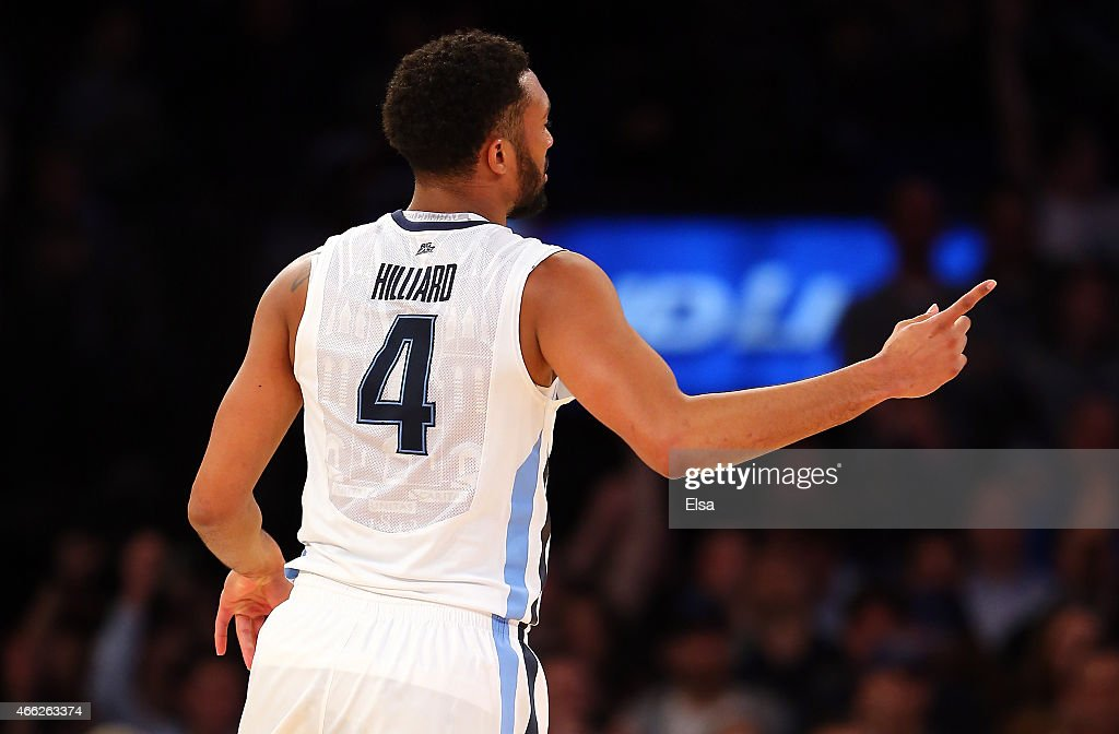 <a gi-track='captionPersonalityLinkClicked' href=/galleries/search?phrase=Darrun+Hilliard&family=editorial&specificpeople=8710176 ng-click='$event.stopPropagation()'>Darrun Hilliard</a> #4 of the Villanova Wildcats reacts in the first half against the Xavier Musketeers during the championship game of the Big East basketball tournament at Madison Square Garden on March 14, 2015 in New York City.