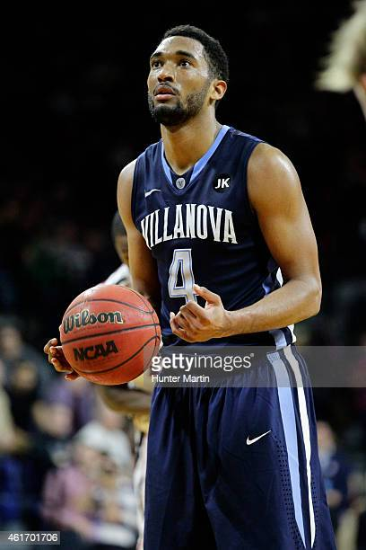 Darrun Hilliard of the Villanova Wildcats shoots a free throw during a game against the Penn Quakers at the Palestra on the campus of the University...