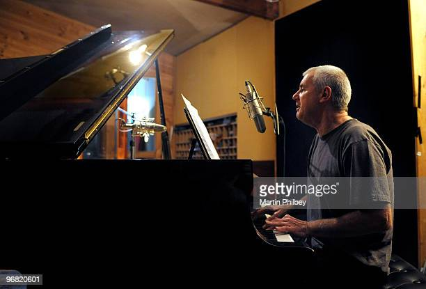 Darryl Braithwaite sings and plays piano in a recording studio on 2nd June 2008 in Melbourne Australia