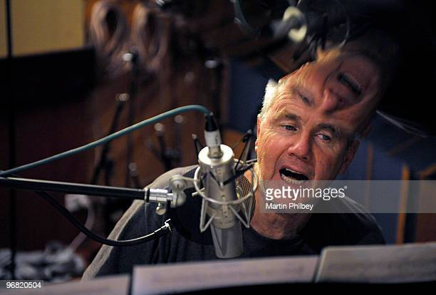 Darryl Braithwaite sings at a condenser microphone in a recording studio on 2nd June 2008 in Melbourne Australia