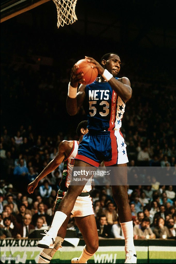 Darryl Dawkins of the New Jersey Nets grabs a rebound against the Milwaukee Bucks during the NBA game in Milwaukee Wisconsin NOTE TO USER User...