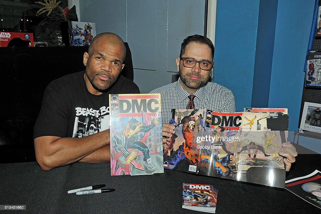 Darryl 'DMC' McDaniels and Edgardo Miranda Rodriguez signs copies Of 'DMC' 'Guardians Of Infinity' at Forbidden Planet on March 2 2016 in New York...