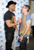 Darryl 'DMC' McDaniels and Ian Brown attend the launch of the adidas #Spezial exhibtion showcasing 600 pairs of adidas trainers at Hoxton Gallery on...
