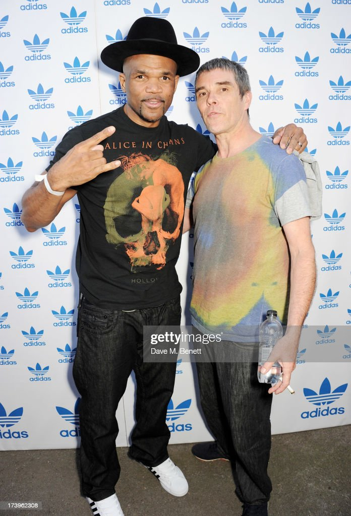 Darryl 'DMC' McDaniels (L) and <a gi-track='captionPersonalityLinkClicked' href=/galleries/search?phrase=Ian+Brown&family=editorial&specificpeople=210705 ng-click='$event.stopPropagation()'>Ian Brown</a> attend the launch of the adidas #Spezial exhibtion, showcasing 600 pairs of adidas trainers, at Hoxton Gallery on July 18, 2013 in London, England.