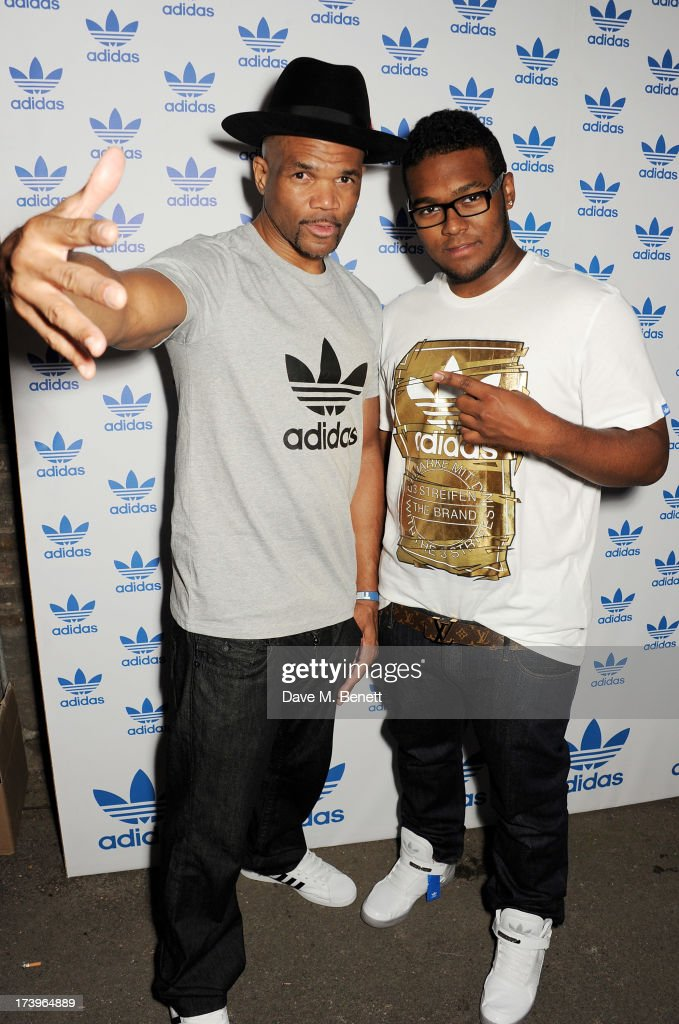Darryl 'DMC' McDaniels (L) and son <a gi-track='captionPersonalityLinkClicked' href=/galleries/search?phrase=Darryl+McDaniels&family=editorial&specificpeople=175934 ng-click='$event.stopPropagation()'>Darryl McDaniels</a> Jr attend the launch of the adidas #Spezial exhibtion, showcasing 600 pairs of adidas trainers, at Hoxton Gallery on July 18, 2013 in London, England.