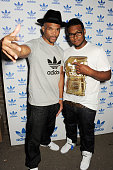 Darryl 'DMC' McDaniels and son Darryl McDaniels Jr attend the launch of the adidas #Spezial exhibtion showcasing 600 pairs of adidas trainers at...