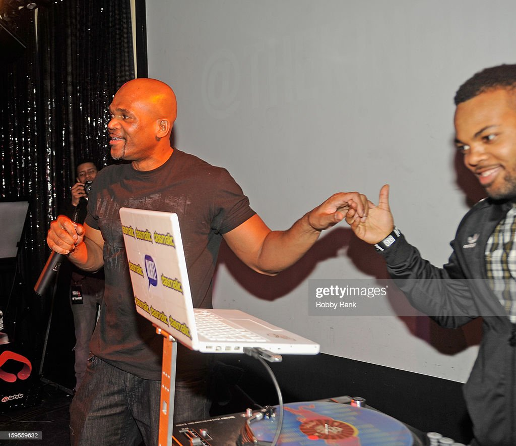 Darryl 'D.M.C.' McDaniels and TJ Mizell attend the Scratch DJ Academy Semester 10th Anniversary at Canal Room on January 15, 2013 in New York City.