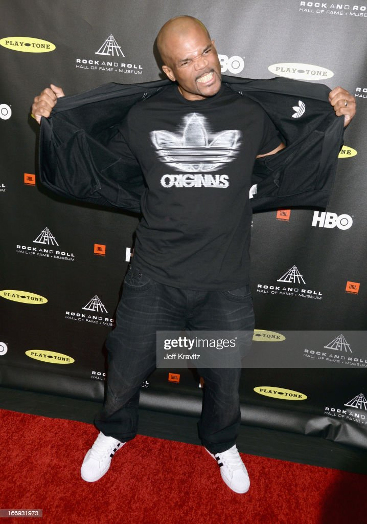 Darryl 'DMC' McDaniels of Run DMC arrives at the 28th Annual Rock and Roll Hall of Fame Induction Ceremony at Nokia Theatre L.A. Live on April 18, 2013 in Los Angeles, California.