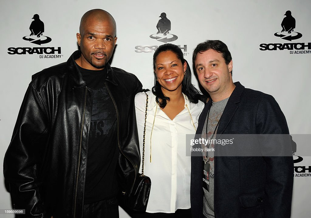 Darryl 'D.M.C.' McDaniels, Terri Mizell and Rob Principe attend the Scratch DJ Academy Semester 10th Anniversary at Canal Room on January 15, 2013 in New York City.