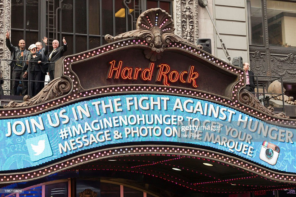Darryl 'DMC' McDaniels, Yoko Ono and President and Chief Executive Officer of Hard Rock Hamish Dodds attend the 5th annual Imagine There's No Hunger Campaign launch at the Hard Rock Cafe, Times Square on November 19, 2012 in New York City.