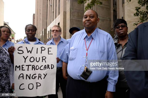 Darryl Goodwin outside Manhattan Criminal Court on Thursday June 29 2017 Goodwin an MTA token booth clerk was arrested when police say he allegedly...