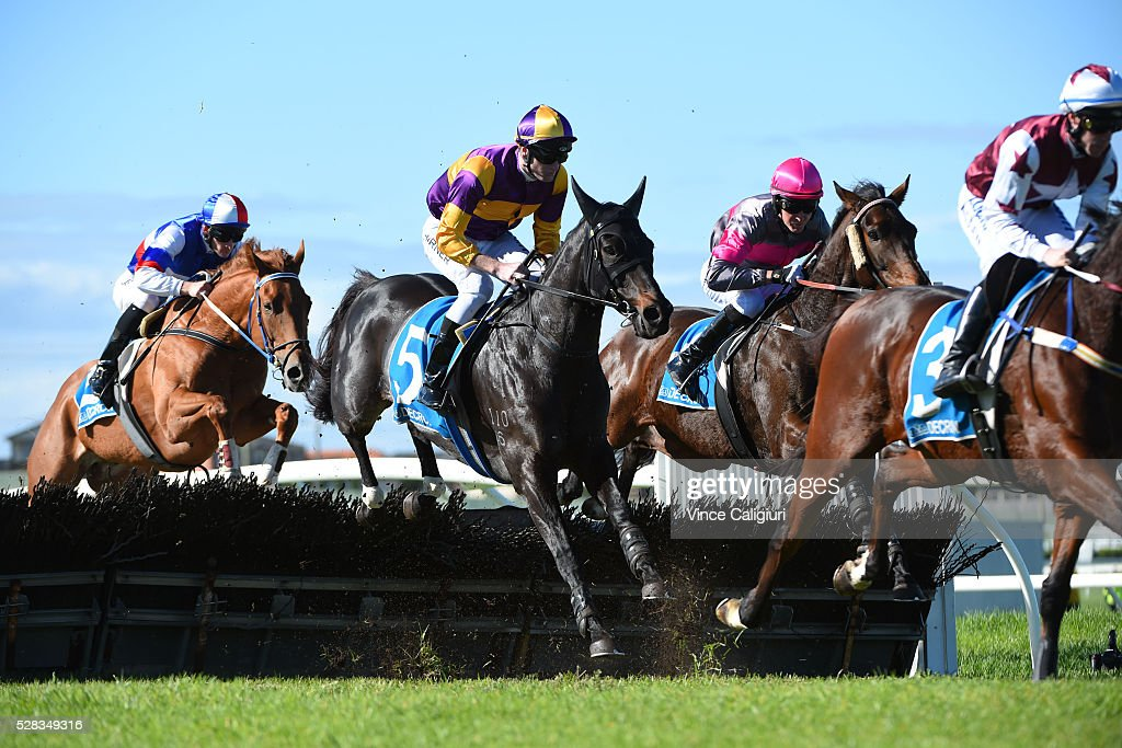Darryl Horner (jnr) riding Cross Constance (5) in Race 1, during Grand Annual Day at Warrnambool Race Club on May 5, 2016 in Warrnambool, Australia.