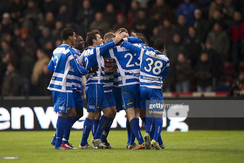 Darryl Lachman of PEC Zwolle, Fred Benson of PEC Zwolle, Bram van Polen of PEC Zwolle, Joost Broerse of PEC Zwolle, Wiljan Pluim of PEC Zwolle, Giovanni Gravenbeek of PEC Zwolle during the Dutch Eredivise match between PSV and PEC Zwolle at the Philips Stadium on January 18, 2013 in Eindhoven, The Netherlands.