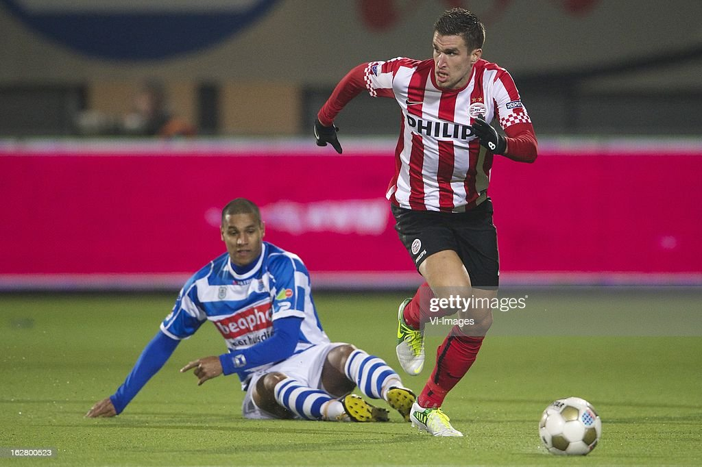 Darryl Lachman of PEC Zwolle, Kevin Strootman of PSV during the Dutch Cup match between PEC Zwolle and PSV Eindhoven at the IJsseldelta Stadium on february 27, 2013 in Zwolle, The Netherlands