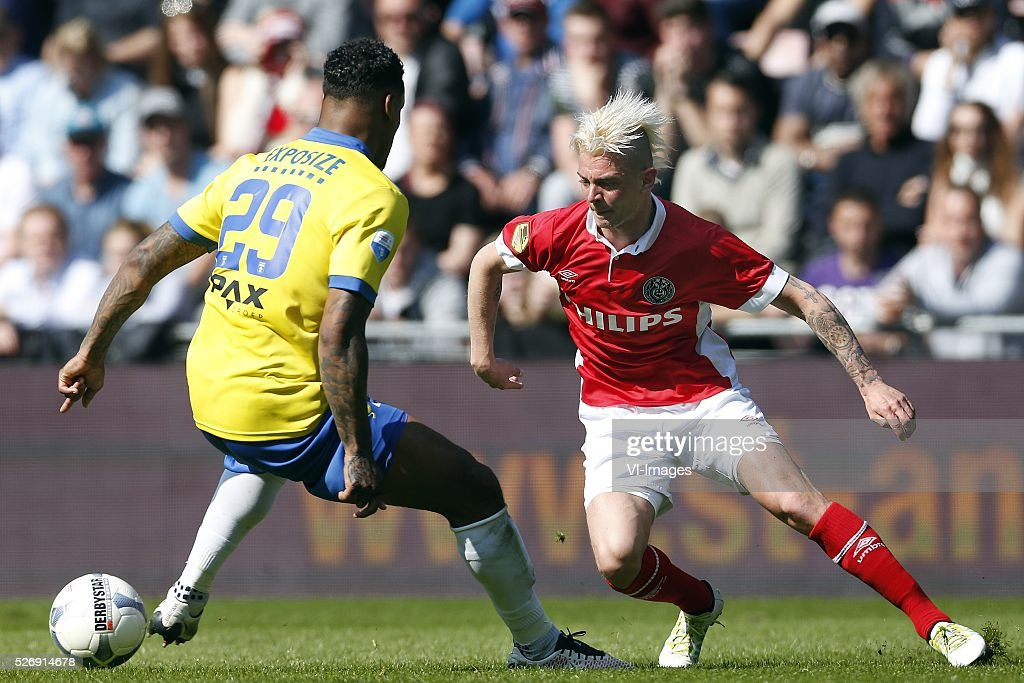 , Darryl Lachman of SC Cambuur, Maxime Lestienne of PSV during the Dutch Eredivisie match between PSV Eindhoven and SC Cambuur Leeuwarden at the Phillips stadium on May 01, 2016 in Eindhoven, The Netherlands