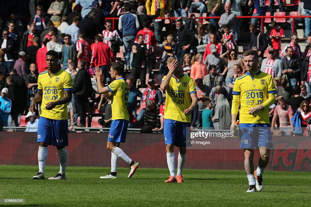 Darryl Lachman of SC Cambuur ,Vytautas Andriuskevicius of SC Cambuur, Jack Byrne of SC Cambuur during the Dutch Eredivisie match between PSV Eindhoven and SC Cambuur Leeuwarden at the Phillips stadium on May 01, 2016 in Eindhoven, The Netherlands