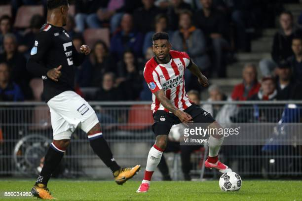 Darryl Lachman of Willem II Jurgen Locadia of PSV during the Dutch Eredivisie match between PSV Eindhoven and Willem II at the Phillips stadium on...