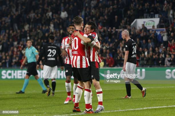 Darryl Lachman of Willem II Jurgen Locadia of PSV Marco van Ginkel of PSV Hirving Lozano of PSV Elmo Lieftink of Willem II during the Dutch...