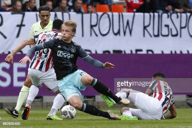 Darryl Lachman of Willem II Kasper Dolberg of Ajax Anouar Kali of Willem IIduring the Dutch Eredivisie match between Willem II Tilburg and Ajax...