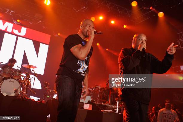 Darryl McDaniels and Joseph Simmons of Run DMC perform onstage at the Bud Light Madden Bowl at The Bud Light Hotel on January 30 2014 in New York City