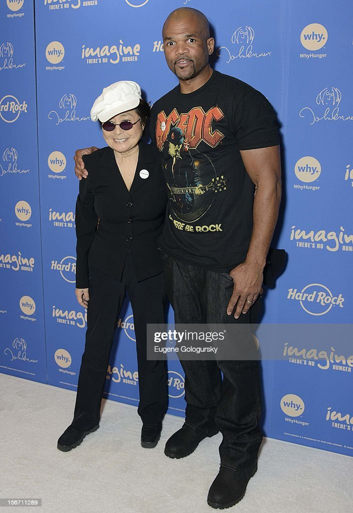 Darryl McDaniels and <a gi-track='captionPersonalityLinkClicked' href=/galleries/search?phrase=Yoko+Ono&family=editorial&specificpeople=202054 ng-click='$event.stopPropagation()'>Yoko Ono</a> attend the 5th annual Imagine There's No Hunger Campaign launch at the Hard Rock Cafe, Times Square on November 19, 2012 in New York City.