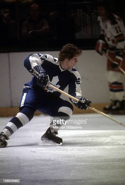 Darryl Sittler of the Toronto Maple Leafs skates on the ice during an NHL game against the New York Rangers circa 1972 at the Madison Square Garden...