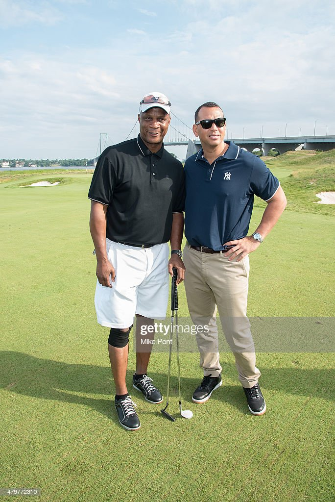Darryl Strawberry (L) and Alex Rodriguez attend the 2015 Hank's Yanks Golf Classic at Trump Golf Links Ferry Point on July 6, 2015 in New York City.