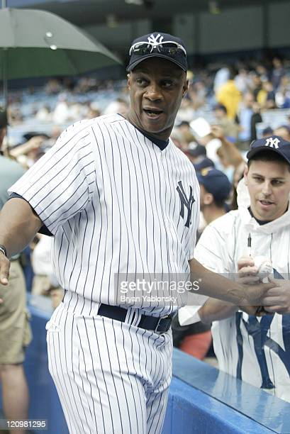 Darryl Strawberry New York Yankees during old timers celebration day at Yankee Stadium in Bronx New York on June 24 2006